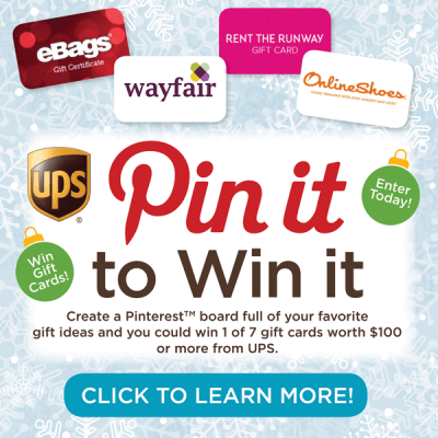 UPS Pin It To Win It Contest – 7 $100+ Gift Cards to Win!