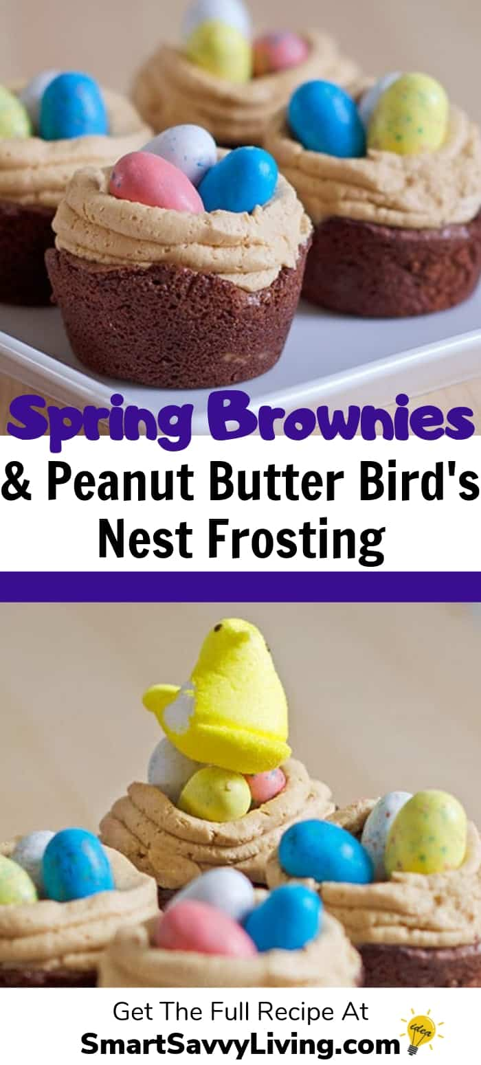 Individual Brownies with Peanut Butter Bird's Nest Frosting Recipe 1