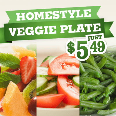 Enjoy a Delicious Homestyle Veggie Plate for just $5.99 at Piccadilly