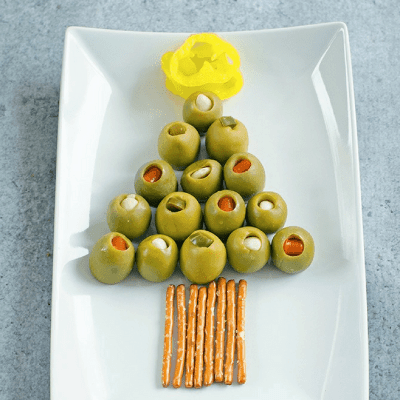 Olive Christmas Tree Appetizer Plate
