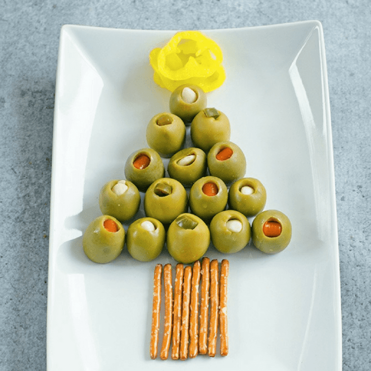 Olive Christmas Tree Appetizer Plate 1
