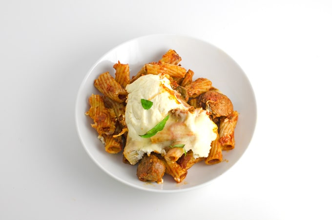 Cheesy Rigatoni With Sausage and Mushrooms Recipe