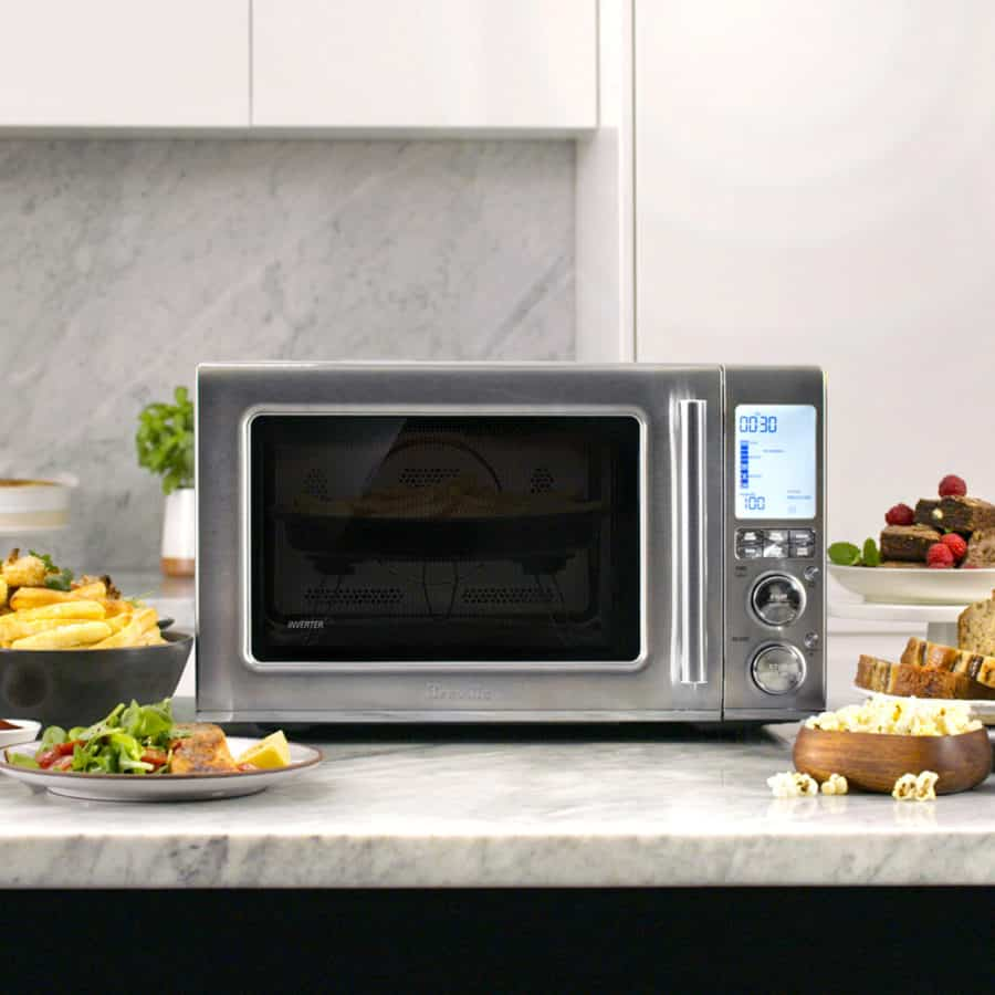 Breville Combi Wave 3-in-1 Microwave frontal view on a kitchen counter