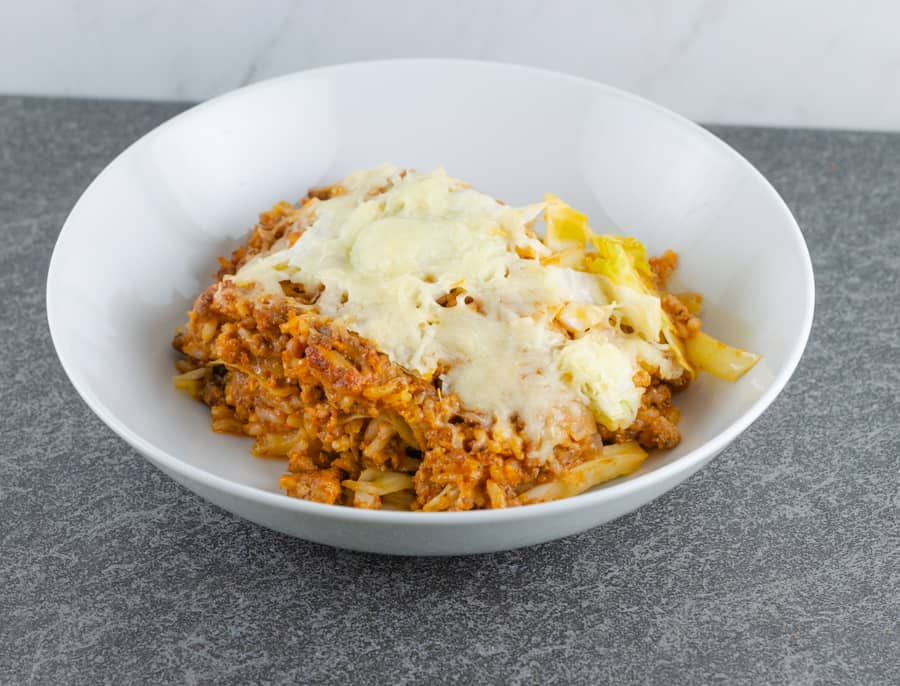 Creamy Unstuffed Cabbage Roll Casserole Recipe plated in a white bowl ready to serve