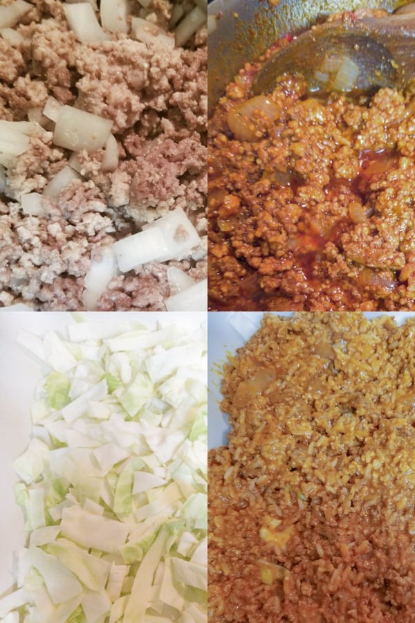 4 steps in preparing Creamy Unstuffed Cabbage Roll Casserole Recipe
