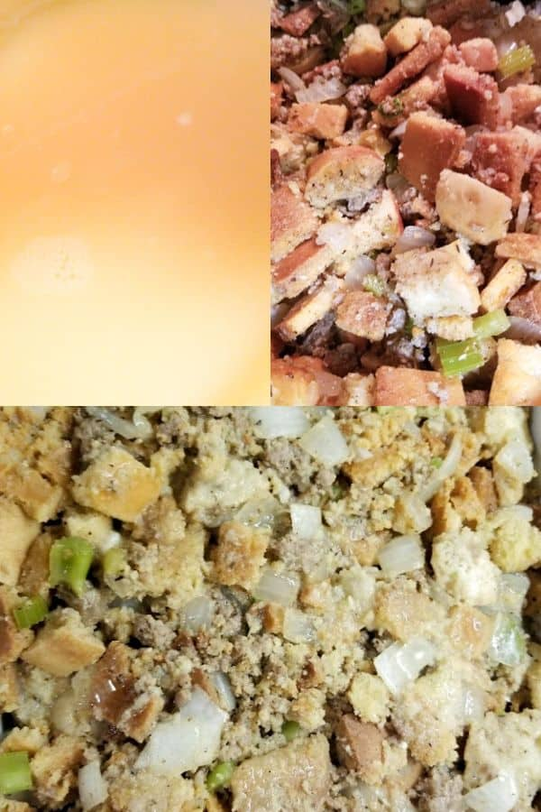 Showcasing steps to make the sausage cornbread dressing recipe including warming the broth, mixing everything together and putting into a casserole dish