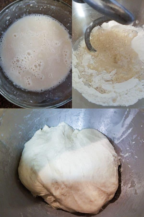 Homemade Cloverleaf Rolls Recipe showing the beginning kneading steps