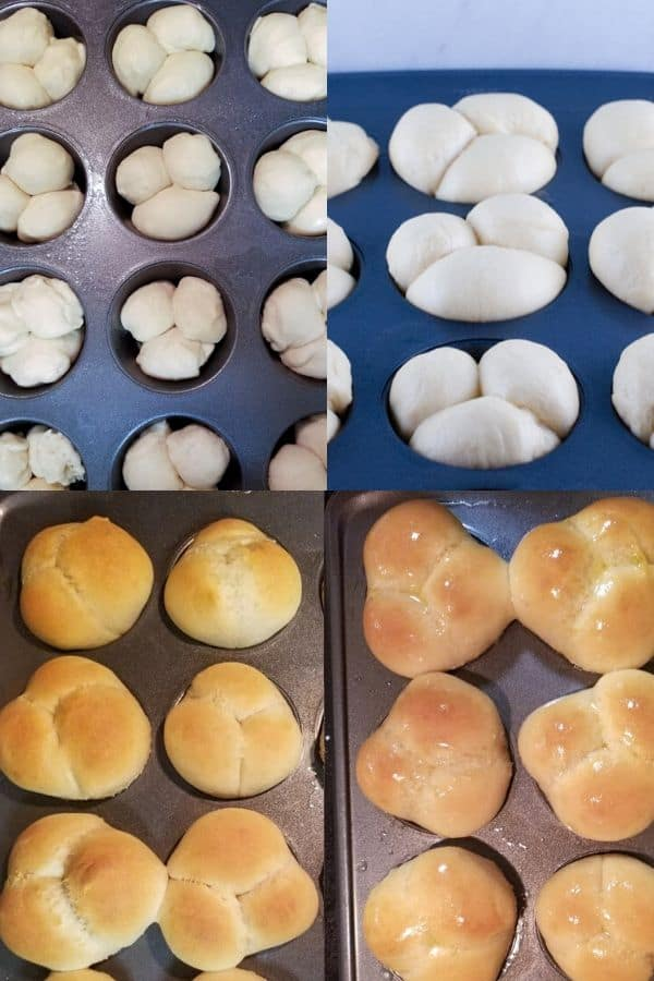 Homemade Cloverleaf Rolls Recipe showing the dough rising in the muffin tin and baked