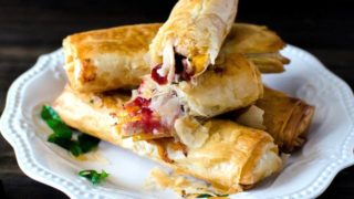 Cranberry, Cheese & Turkey Filo Rolls - The Flavor Bender