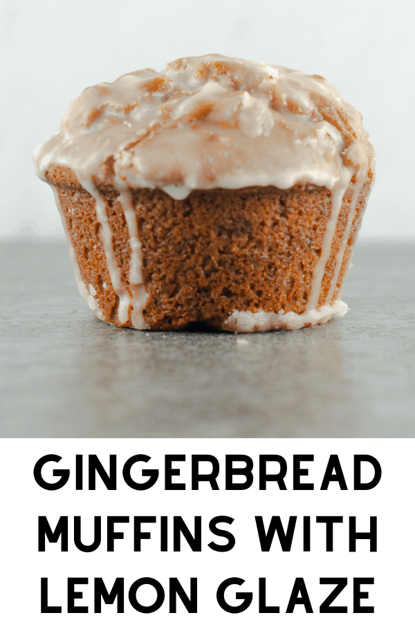 gingerbread muffins with lemon glaze pinterest graphic