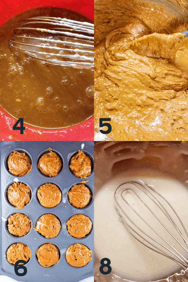 steps 4 to 8 to make gingerbread muffins including whisking together wet ingredients, finishing the batter, pouring into the muffin tin, and making the lemon glaze