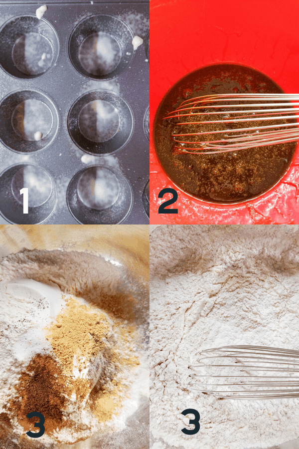 steps to make gingerbread muffins including greasing the muffin tin, melting the butter in the molasses, and whisking together the dry ingredients.