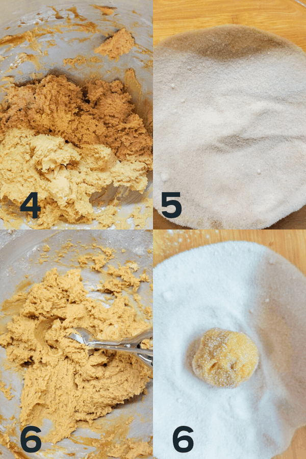 More steps to make the Crispy Ginger Molasses Cookies Recipe including finishing making the dough, making the cinnamon sugar, forming the dough into balls, and rolling the balls into the cinnamon sugar.