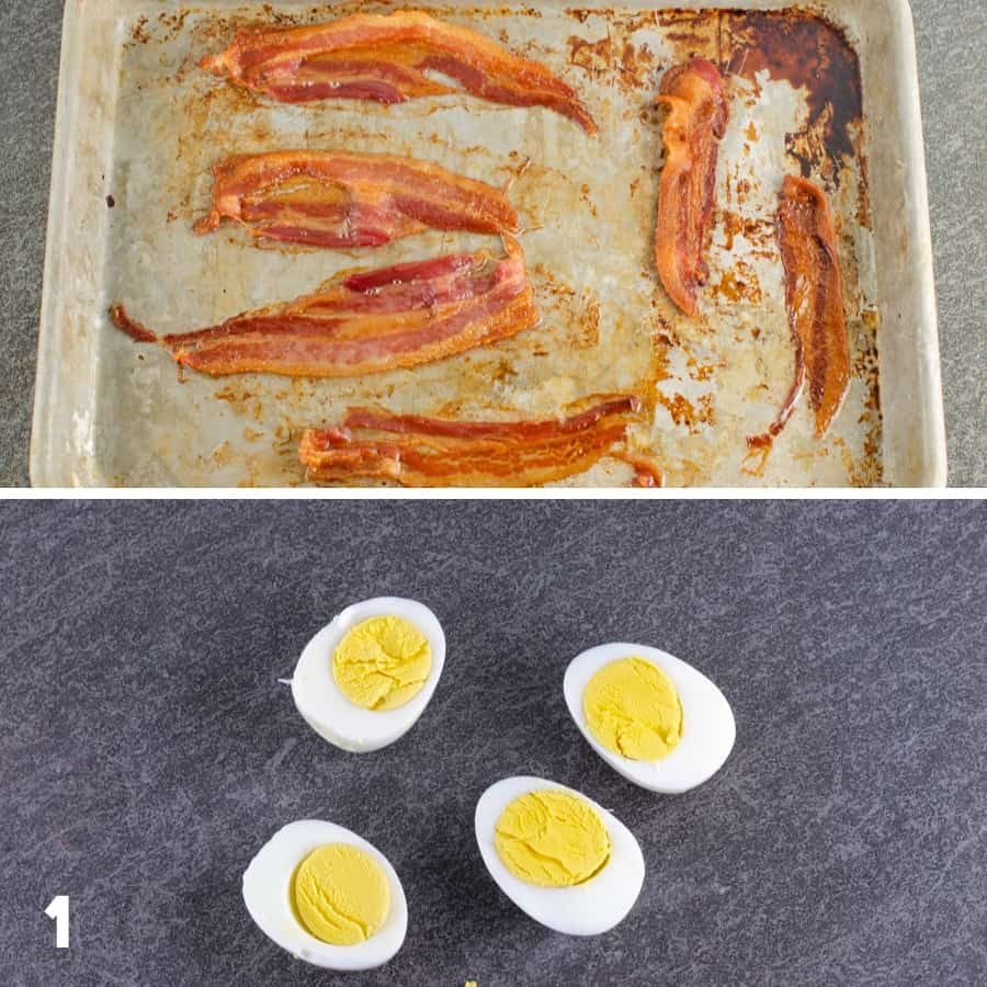 first steps of making bacon deviled eggs including baking bacon slices on a quarter sheet pan and slicing hard boiled eggs in half