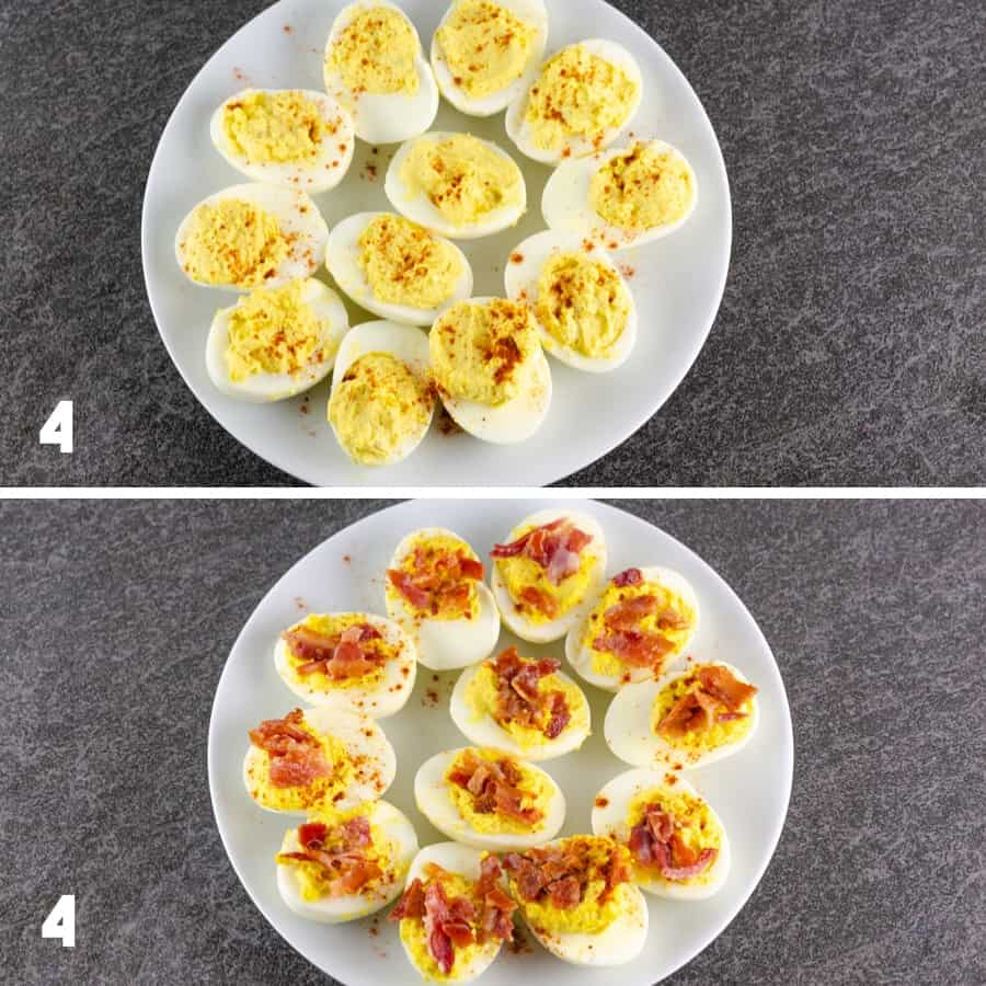 forth set of steps to making bacon deviled eggs including sprinkling with cayenne and then the crumbled bacon