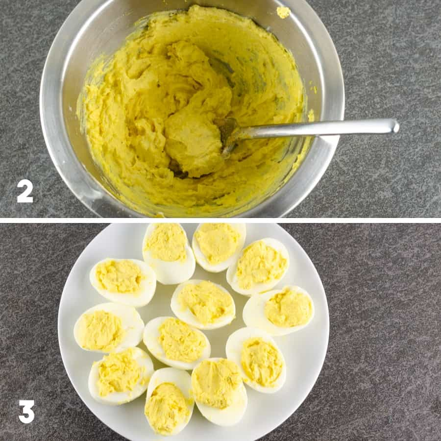 third set of steps to make bacon deviled eggs including mixing filling ingredients together in a mixing bowl and then spooning the filling into the egg whites