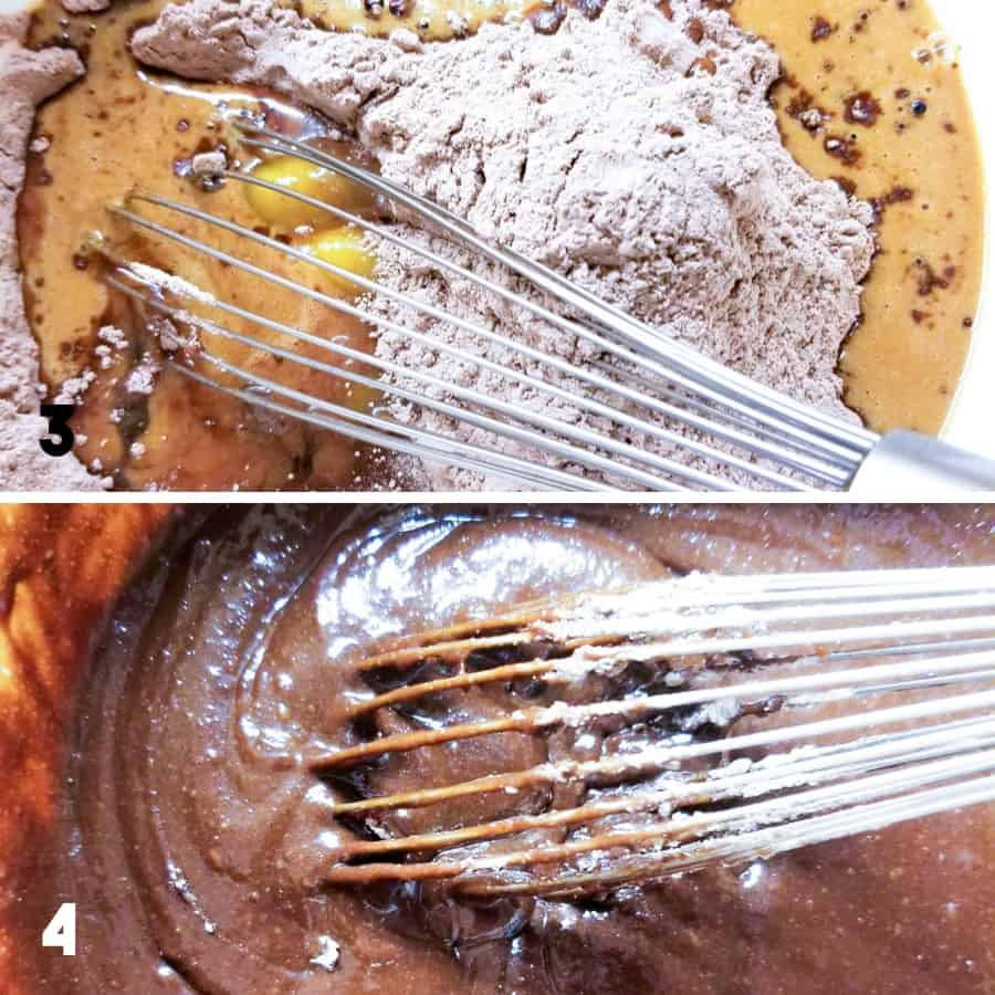 A collage showing step 3 and 4 of the recipe including adding the eggs and liquids and mixing them together.