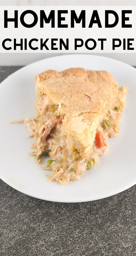Pinterest image for sliced chicken pot pie.