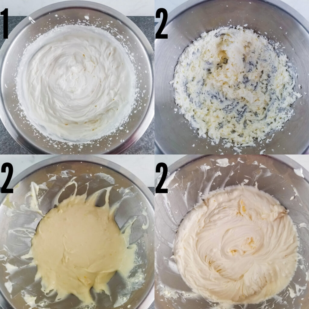 preparation steps: making homemade whipped cream, then beating cream cheese, then adding lemon curd to cream cheese, and lastly adding whipped cream to the previous mix for the finished filling