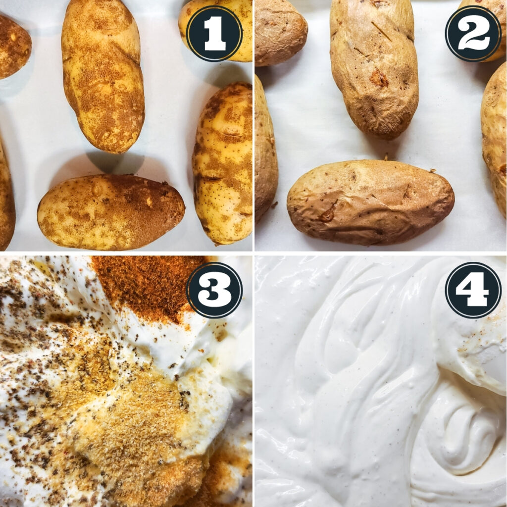 Steps 1 through 4 to make the recipe including: baking the potatoes, letting them cool, assembling the dressing, and setting aside until ready to prepare the salad