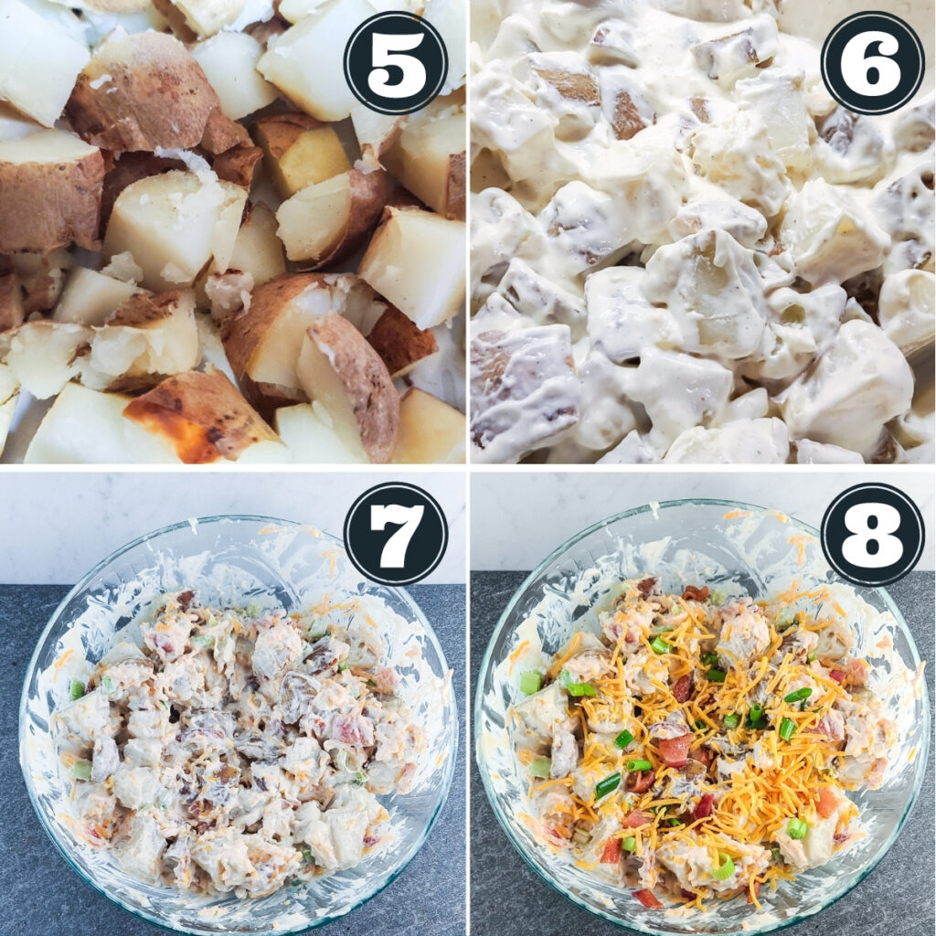 steps 5 through 8 of preparing the potato salad including: cutting the potatoes into bite-sized chunks, mixing the dressing and potatoes together, adding the onions, bacon, and cheese, and then garnishing before serving