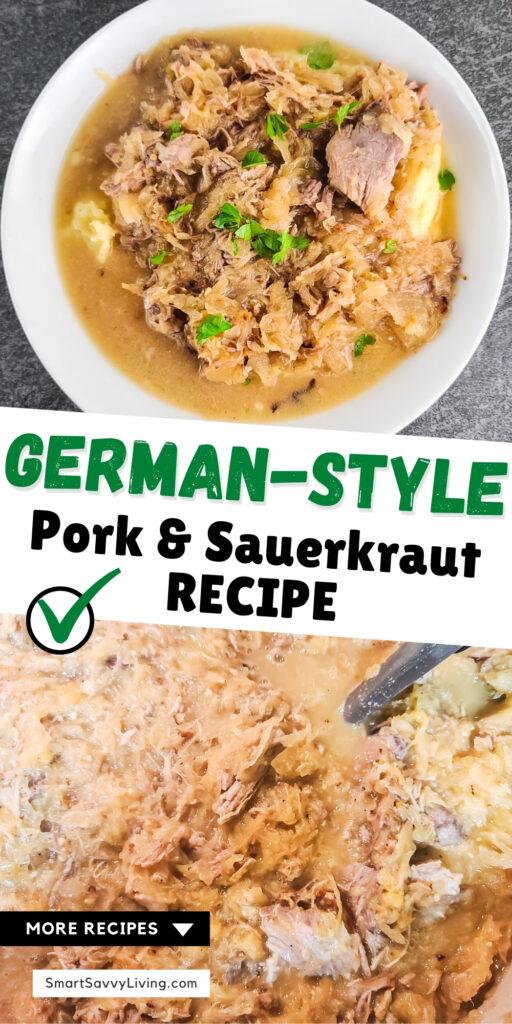 pinterest image for pork and sauerkraut