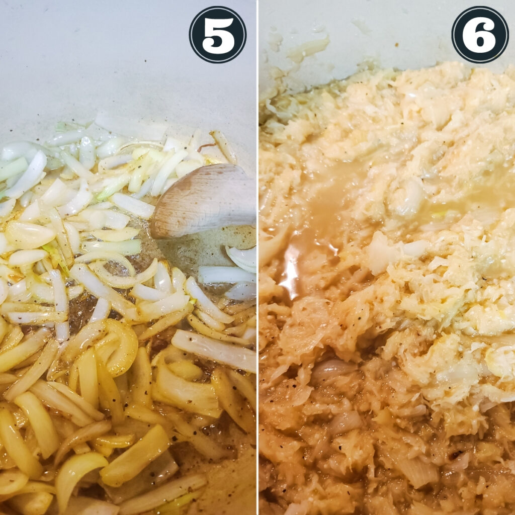 third set of  directions including sauteeing onions and adding kraut and seasonings