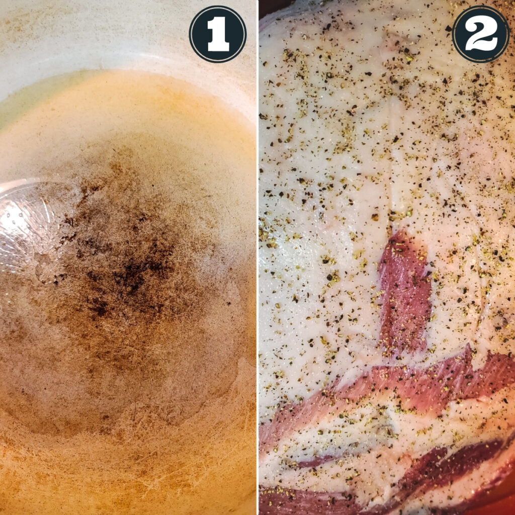 first directions for recipe - heating oil and seasoning pork