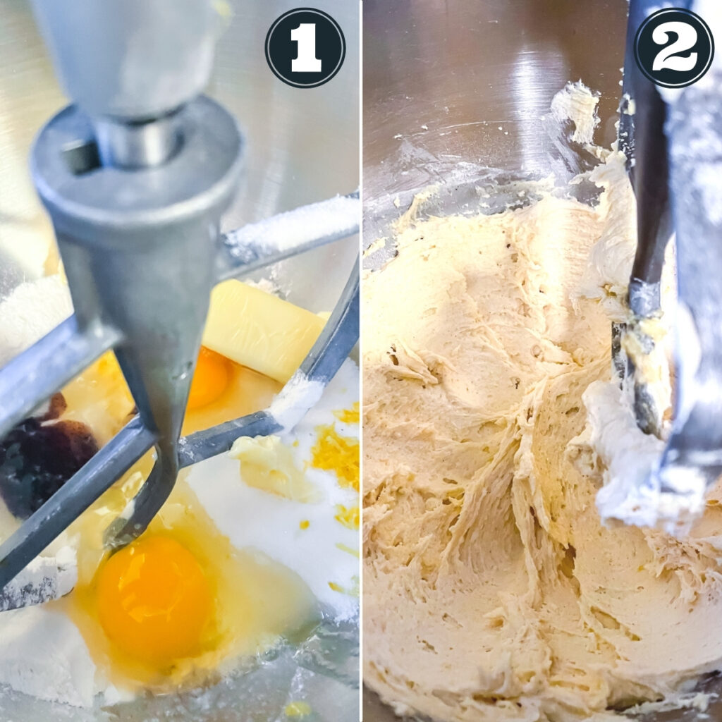 first steps to make cake including dumping ingredients in the mixing bowl and mixing until batter is smooth