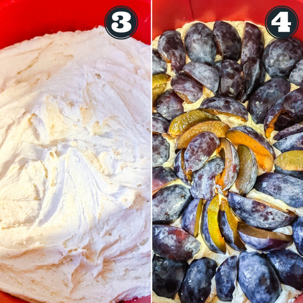 third and forth steps of making cake including smoothing batter in pan and topping with plums