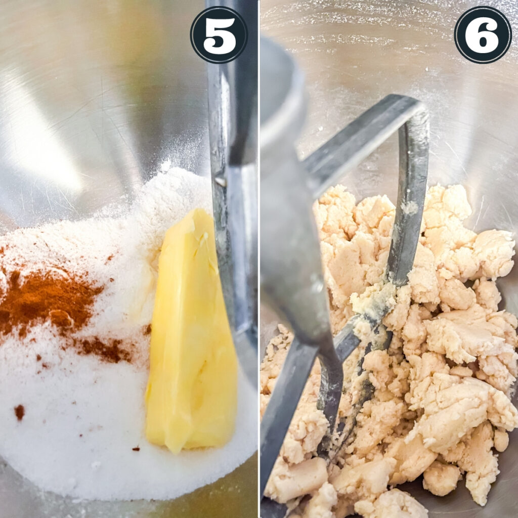 fifth and sixth steps of making cake including making crump topping in mixer