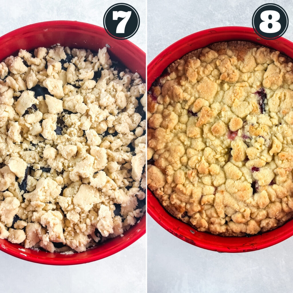 seventh and eigth steps of making cake including sprinkling on crumb topping and baking