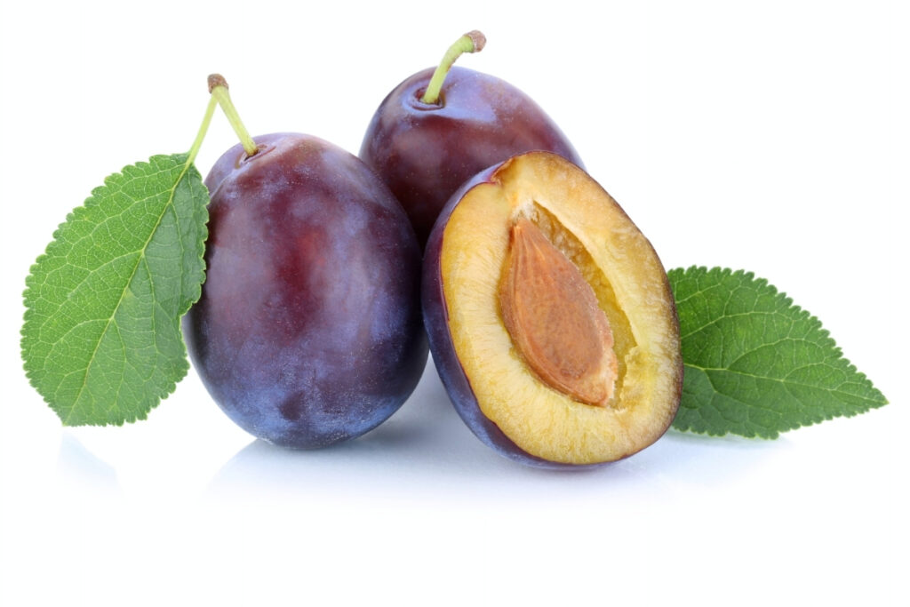 picture of 3 italian plums, with one cut in half